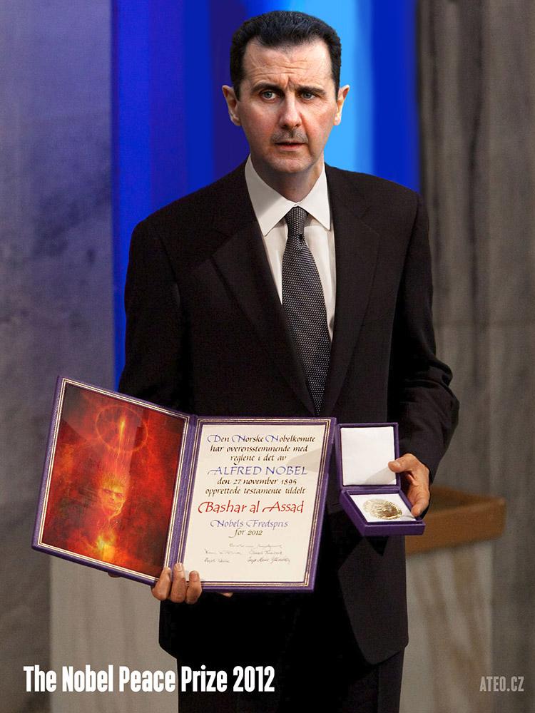 Internet si dělá legraci, že cenu měl dostat Syrský prezident Assad.